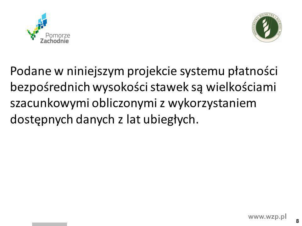 www.wzp.p l Podane w niniejszym projekcie systemu płatności bezpośrednich wysokości stawek są wielkościami szacunkowymi obliczonymi z wykorzystaniem d