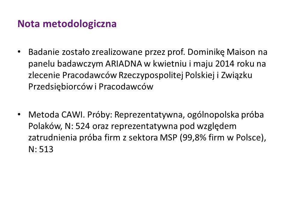 Nota metodologiczna Badanie zostało zrealizowane przez prof.