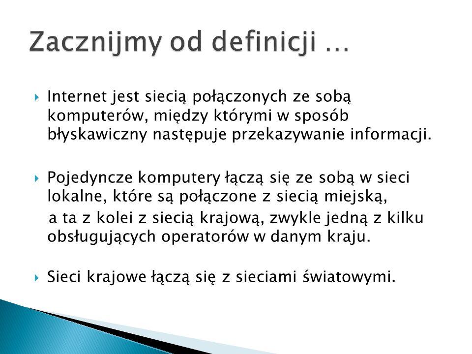  Internet jest siecią połączonych ze sobą komputerów, między którymi w sposób błyskawiczny następuje przekazywanie informacji.