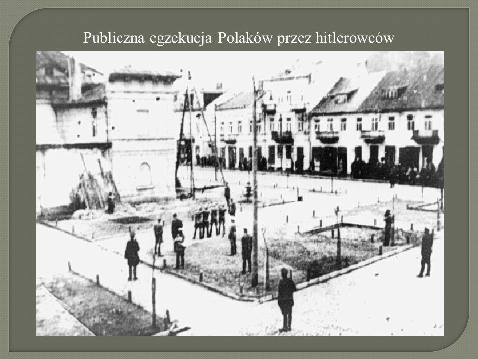 Publiczna egzekucja Polaków przez hitlerowców
