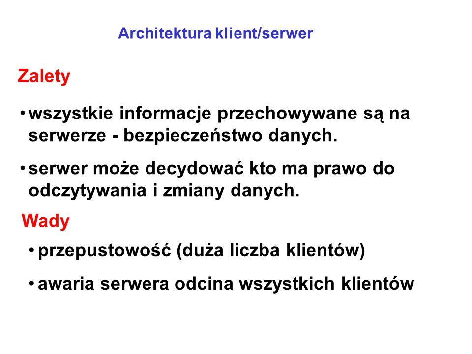 wszystkie informacje przechowywane są na serwerze - bezpieczeństwo danych. serwer może decydować kto ma prawo do odczytywania i zmiany danych. przepus