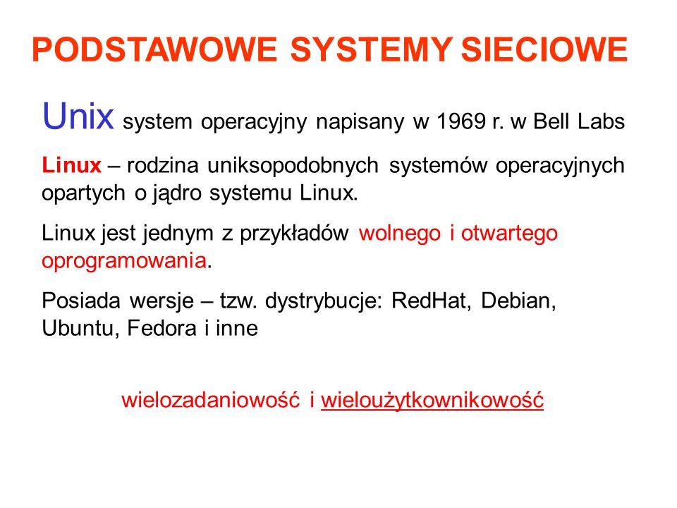 PODSTAWOWE SYSTEMY SIECIOWE Unix system operacyjny napisany w 1969 r. w Bell Labs Linux – rodzina uniksopodobnych systemów operacyjnych opartych o jąd