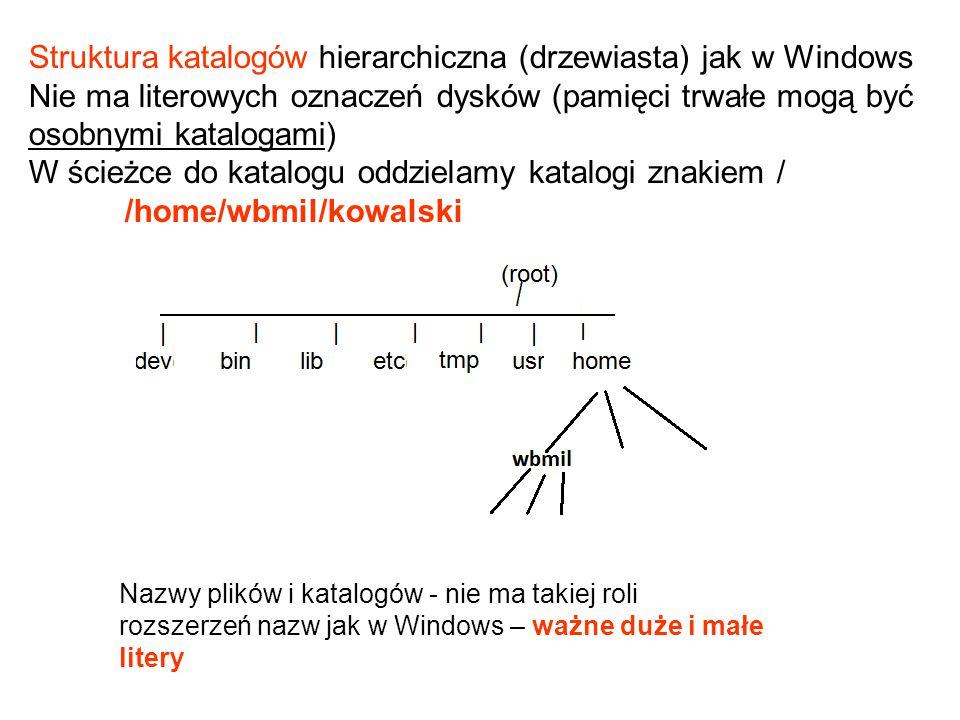 Struktura katalogów hierarchiczna (drzewiasta) jak w Windows Nie ma literowych oznaczeń dysków (pamięci trwałe mogą być osobnymi katalogami) W ścieżce