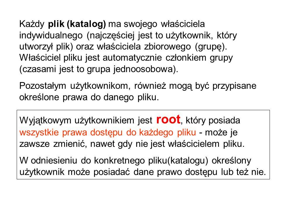 Wyjątkowym użytkownikiem jest root, który posiada wszystkie prawa dostępu do każdego pliku - może je zawsze zmienić, nawet gdy nie jest właścicielem p