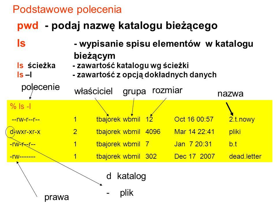 Podstawowe polecenia pwd - podaj nazwę katalogu bieżącego % ls -l --rw-r--r--1tbajorek wbmil12 Oct 16 00:572.t.nowy d-wxr-xr-x2tbajorek wbmil4096 Mar