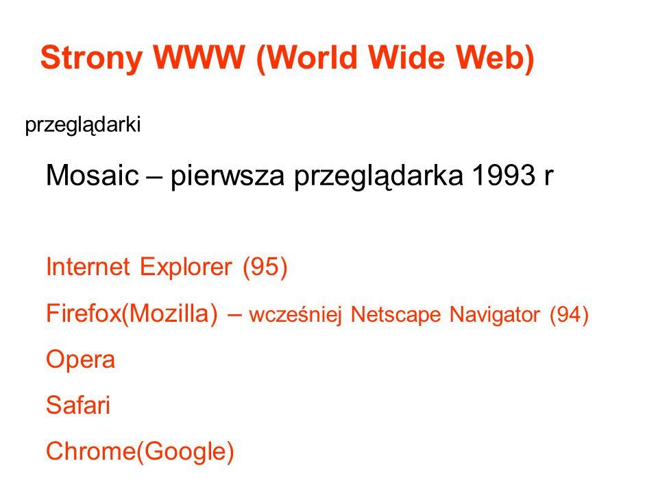 Strony WWW (World Wide Web) Mosaic – pierwsza przeglądarka 1993 r Internet Explorer (95) Firefox(Mozilla) – wcześniej Netscape Navigator (94) Opera Sa