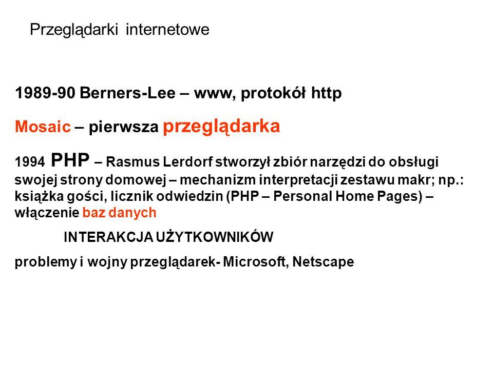 Przeglądarki internetowe 1989-90 Berners-Lee – www, protokół http Mosaic – pierwsza przeglądarka 1994 PHP – Rasmus Lerdorf stworzył zbiór narzędzi do