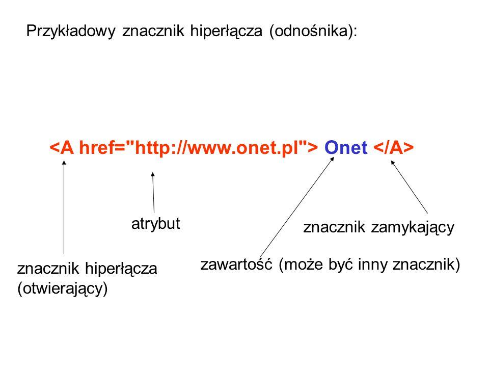 Onet znacznik hiperłącza (otwierający) atrybut zawartość (może być inny znacznik) znacznik zamykający Przykładowy znacznik hiperłącza (odnośnika):