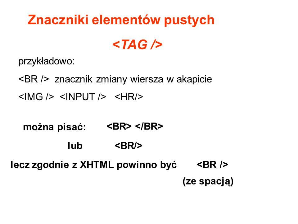 Znaczniki elementów pustych przykładowo: znacznik zmiany wiersza w akapicie można pisać: lub lecz zgodnie z XHTML powinno być (ze spacją)
