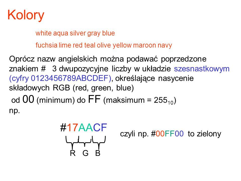 Oprócz nazw angielskich można podawać poprzedzone znakiem # 3 dwupozycyjne liczby w układzie szesnastkowym (cyfry 0123456789ABCDEF), określające nasyc