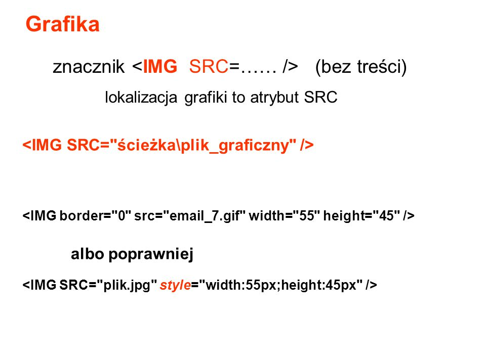 Grafika albo poprawniej znacznik (bez treści) lokalizacja grafiki to atrybut SRC