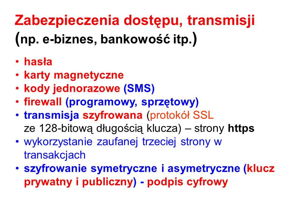 hasła karty magnetyczne kody jednorazowe (SMS) firewall (programowy, sprzętowy) transmisja szyfrowana (protokół SSL ze 128 ‑ bitową długością klucza)