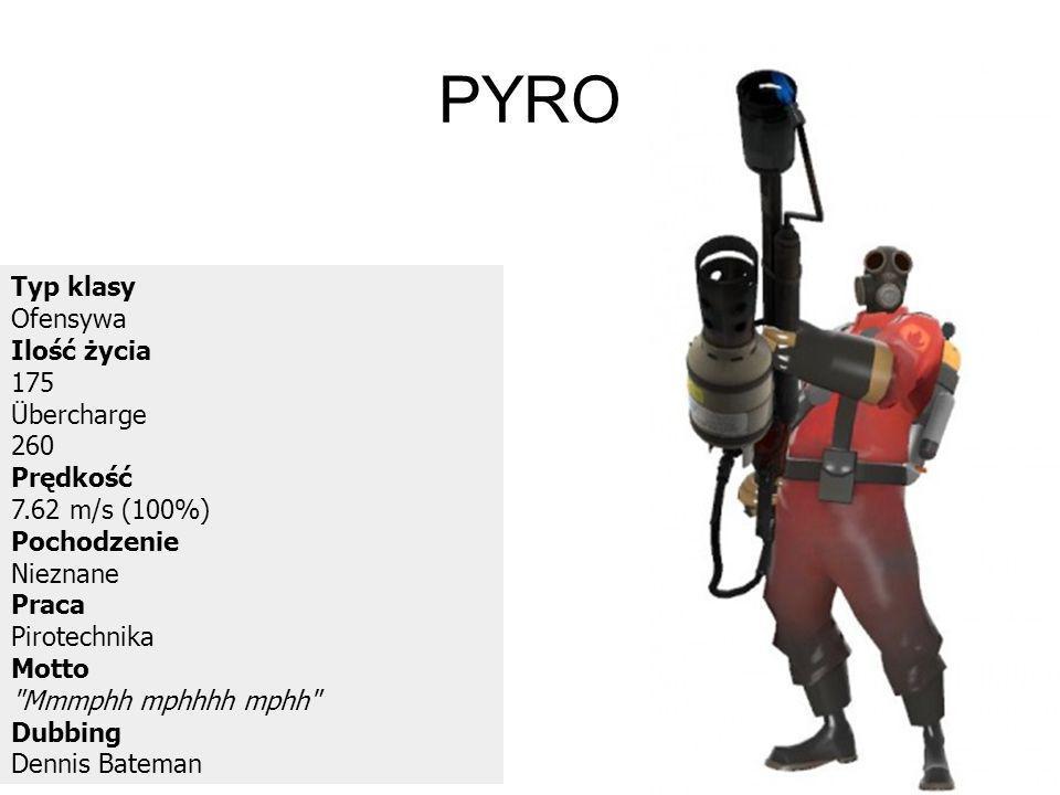 PYRO Typ klasy Ofensywa Ilość życia 175 Übercharge 260 Prędkość 7.62 m/s (100%) Pochodzenie Nieznane Praca Pirotechnika Motto