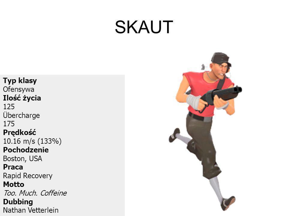 SKAUT Typ klasy Ofensywa Ilość życia 125 Übercharge 175 Prędkość 10.16 m/s (133%) Pochodzenie Boston, USA Praca Rapid Recovery Motto Too. Much. Coffei