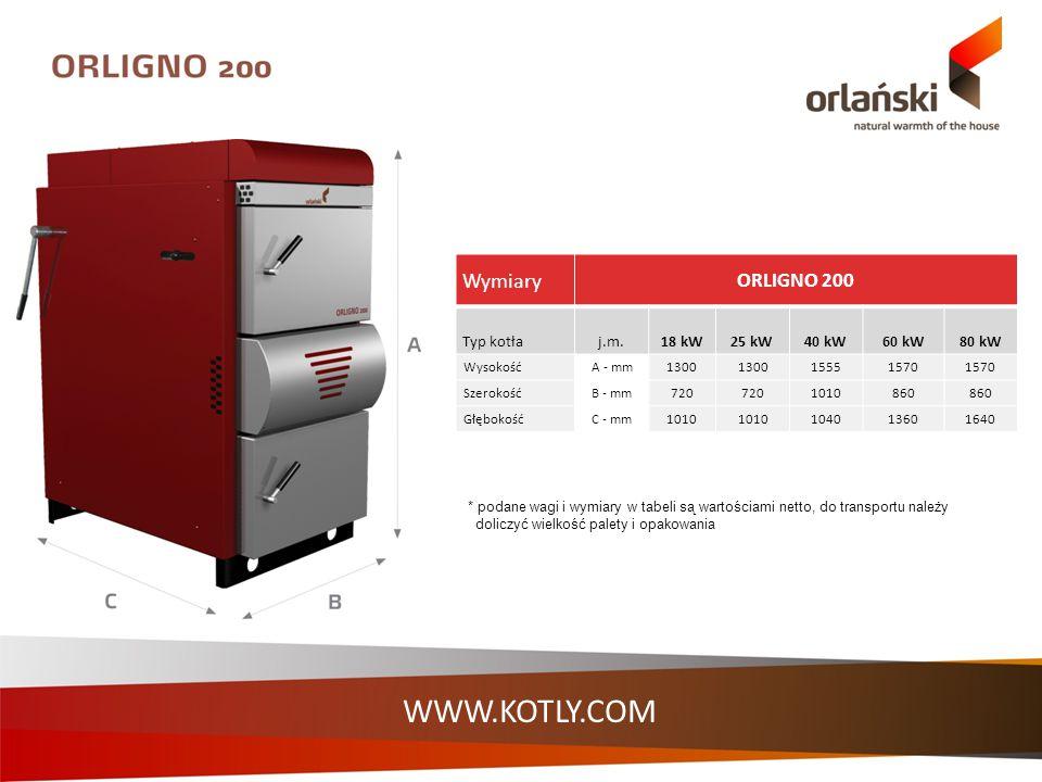 Wymiary ORLIGNO 200 Typ kotłaj.m.18 kW25 kW40 kW60 kW80 kW WysokośćA - mm1300 15551570 SzerokośćB - mm720 1010860 GłębokośćC - mm1010 104013601640 * p