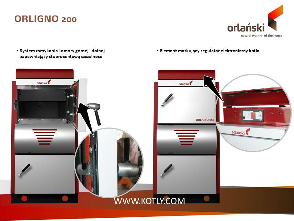 System zamykania komory górnej i dolnej zapewniający stuprocentową szczelność Element maskujący regulator elektroniczny kotła WWW.KOTLY.COM