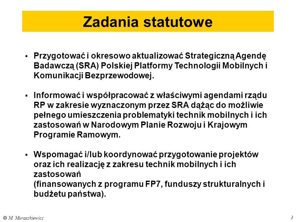 3  M. Muraszkiewicz Zadania statutowe  Przygotować i okresowo aktualizować Strategiczną Agendę Badawczą (SRA) Polskiej Platformy Technologii Mobilny