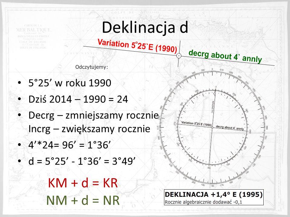 Deklinacja d 5°25' w roku 1990 Dziś 2014 – 1990 = 24 Decrg – zmniejszamy rocznie Incrg – zwiększamy rocznie 4'*24= 96' = 1°36' d = 5°25' - 1°36' = 3°49' KM + d = KR NM + d = NR