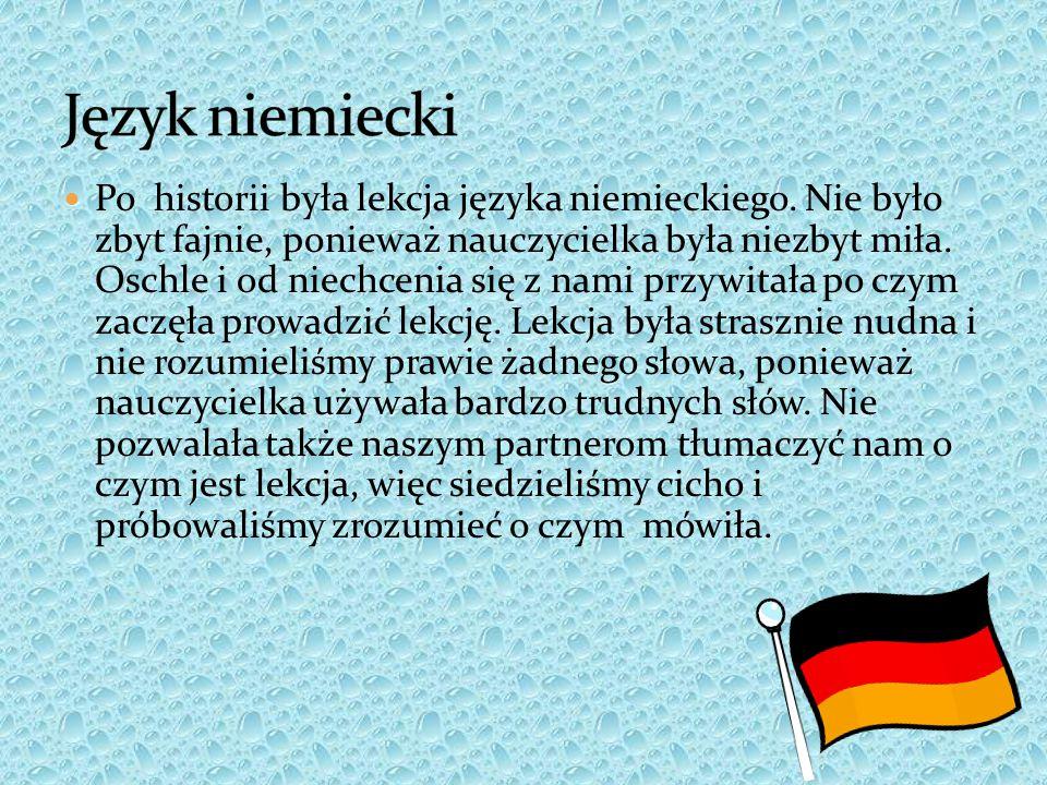 Po historii była lekcja języka niemieckiego. Nie było zbyt fajnie, ponieważ nauczycielka była niezbyt miła. Oschle i od niechcenia się z nami przywita