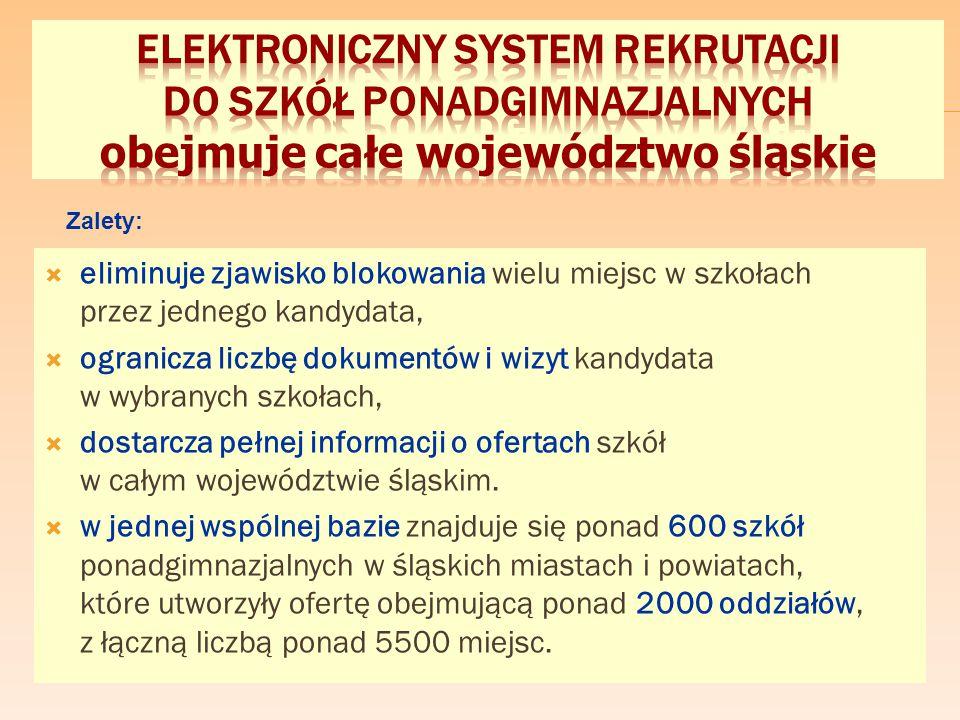  eliminuje zjawisko blokowania wielu miejsc w szkołach przez jednego kandydata,  ogranicza liczbę dokumentów i wizyt kandydata w wybranych szkołach,  dostarcza pełnej informacji o ofertach szkół w całym województwie śląskim.