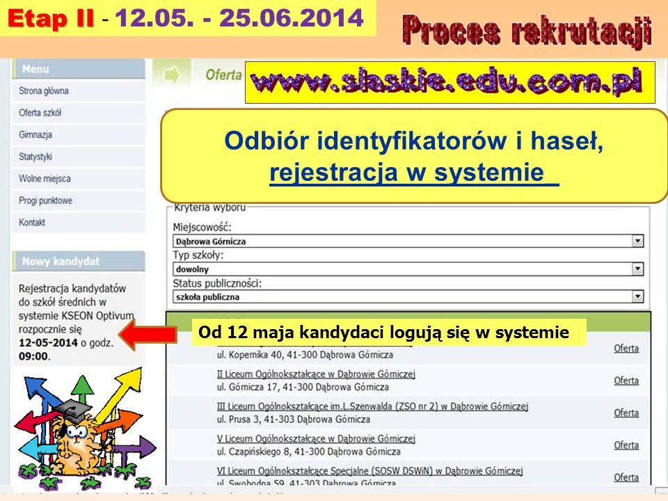 Odbiór identyfikatorów i haseł, rejestracja w systemie_ Od 12 maja kandydaci logują się w systemie