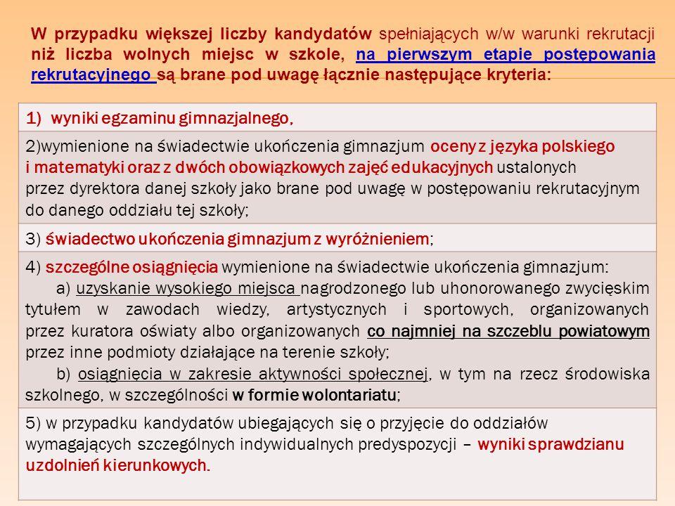 W przypadku większej liczby kandydatów spełniających w/w warunki rekrutacji niż liczba wolnych miejsc w szkole, na pierwszym etapie postępowania rekrutacyjnego są brane pod uwagę łącznie następujące kryteria: 1)wyniki egzaminu gimnazjalnego, 2)wymienione na świadectwie ukończenia gimnazjum oceny z języka polskiego i matematyki oraz z dwóch obowiązkowych zajęć edukacyjnych ustalonych przez dyrektora danej szkoły jako brane pod uwagę w postępowaniu rekrutacyjnym do danego oddziału tej szkoły; 3) świadectwo ukończenia gimnazjum z wyróżnieniem; 4) szczególne osiągnięcia wymienione na świadectwie ukończenia gimnazjum: a) uzyskanie wysokiego miejsca nagrodzonego lub uhonorowanego zwycięskim tytułem w zawodach wiedzy, artystycznych i sportowych, organizowanych przez kuratora oświaty albo organizowanych co najmniej na szczeblu powiatowym przez inne podmioty działające na terenie szkoły; b) osiągnięcia w zakresie aktywności społecznej, w tym na rzecz środowiska szkolnego, w szczególności w formie wolontariatu; 5) w przypadku kandydatów ubiegających się o przyjęcie do oddziałów wymagających szczególnych indywidualnych predyspozycji – wyniki sprawdzianu uzdolnień kierunkowych.