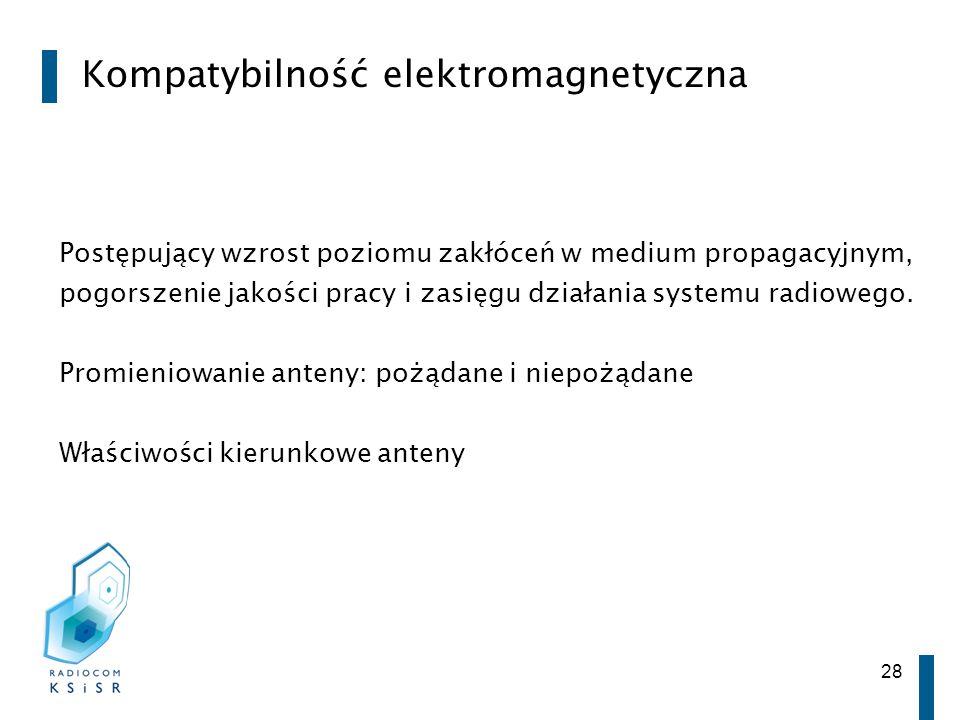 28 Kompatybilność elektromagnetyczna Postępujący wzrost poziomu zakłóceń w medium propagacyjnym, pogorszenie jakości pracy i zasięgu działania systemu