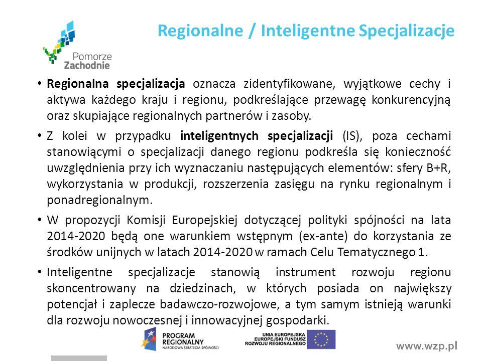 www.wzp.p l Regionalna specjalizacja oznacza zidentyfikowane, wyjątkowe cechy i aktywa każdego kraju i regionu, podkreślające przewagę konkurencyjną oraz skupiające regionalnych partnerów i zasoby.