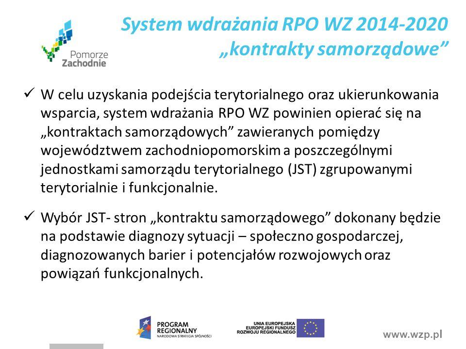 """www.wzp.p l System wdrażania RPO WZ 2014-2020 """"kontrakty samorządowe W celu uzyskania podejścia terytorialnego oraz ukierunkowania wsparcia, system wdrażania RPO WZ powinien opierać się na """"kontraktach samorządowych zawieranych pomiędzy województwem zachodniopomorskim a poszczególnymi jednostkami samorządu terytorialnego (JST) zgrupowanymi terytorialnie i funkcjonalnie."""