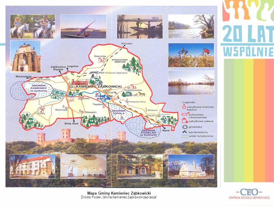 """Mapa Gminy Kamieniec Ząbkowicki Źródło: Folder """"Gmina Kamieniec Ząbkowicki zaprasza"""""""