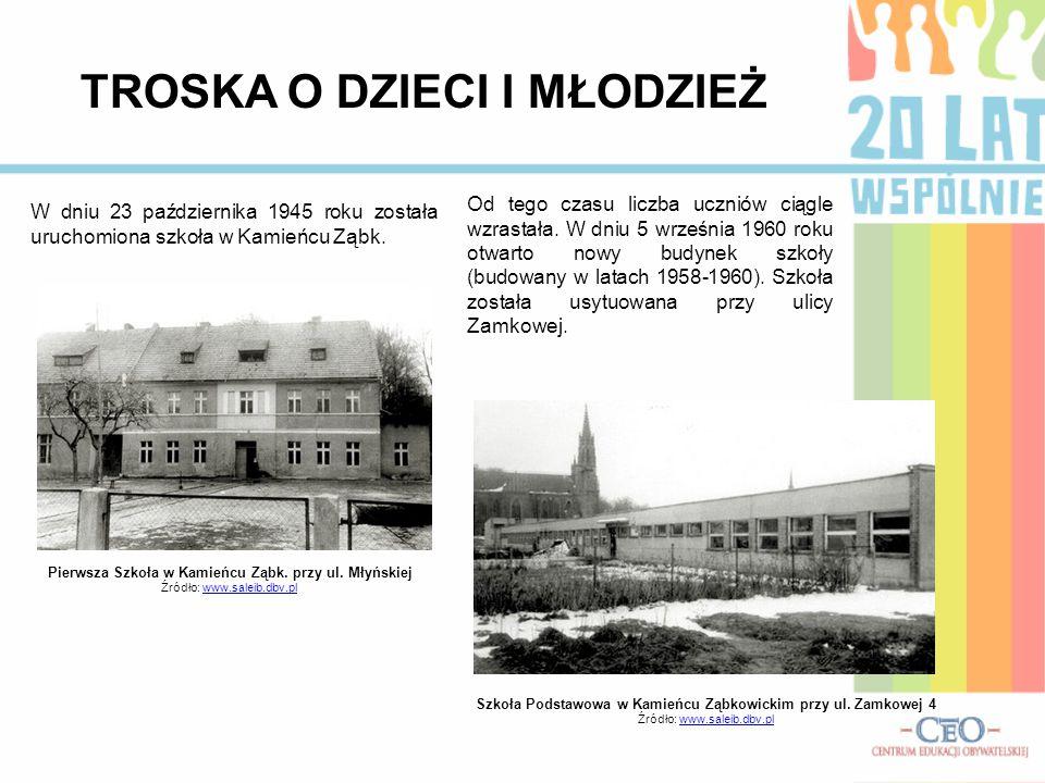 TROSKA O DZIECI I MŁODZIEŻ W dniu 23 października 1945 roku została uruchomiona szkoła w Kamieńcu Ząbk. Pierwsza Szkoła w Kamieńcu Ząbk. przy ul. Młyń