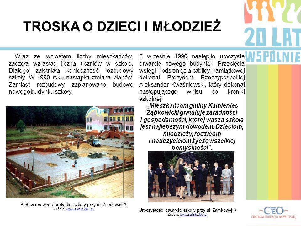 Budowa nowego budynku szkoły przy ul. Zamkowej 3 Źródło: www.saleib.dbv.plwww.saleib.dbv.pl TROSKA O DZIECI I MŁODZIEŻ Wraz ze wzrostem liczby mieszka