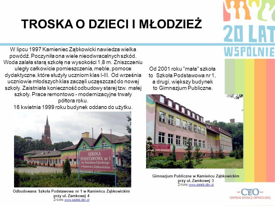 TROSKA O DZIECI I MŁODZIEŻ Odbudowana Szkoła Podstawowa nr 1 w Kamieńcu Ząbkowickim przy ul. Zamkowej 4 Źródło: www.saleib.dbv.plwww.saleib.dbv.pl Gim