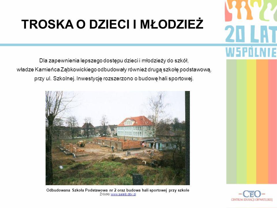 Dla zapewnienia lepszego dostępu dzieci i młodzieży do szkół, władze Kamieńca Ząbkowickiego odbudowały również drugą szkołę podstawową, przy ul. Szkol