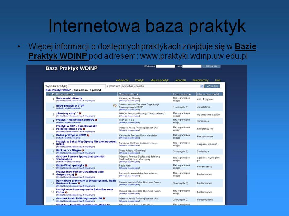 Internetowa baza praktyk Więcej informacji o dostępnych praktykach znajduje się w Bazie Praktyk WDINP pod adresem: www.praktyki.wdinp.uw.edu.pl