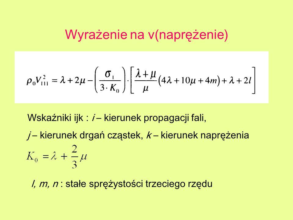 Wyrażenie na v(naprężenie) Wskaźniki ijk : i – kierunek propagacji fali, j – kierunek drgań cząstek, k – kierunek naprężenia l, m, n : stałe sprężysto