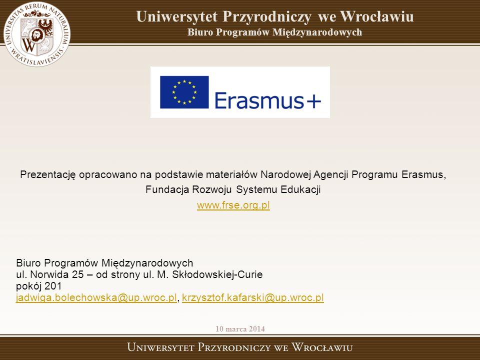 Prezentację opracowano na podstawie materiałów Narodowej Agencji Programu Erasmus, Fundacja Rozwoju Systemu Edukacji www.frse.org.pl Biuro Programów M