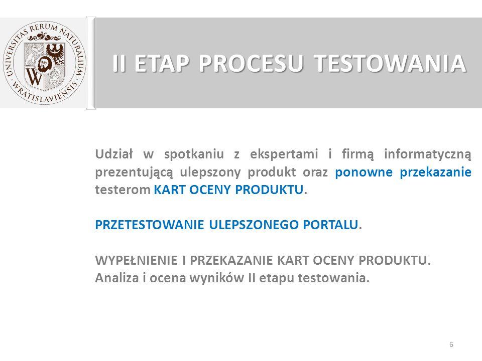 II ETAP PROCESU TESTOWANIA Udział w spotkaniu z ekspertami i firmą informatyczną prezentującą ulepszony produkt oraz ponowne przekazanie testerom KART OCENY PRODUKTU.