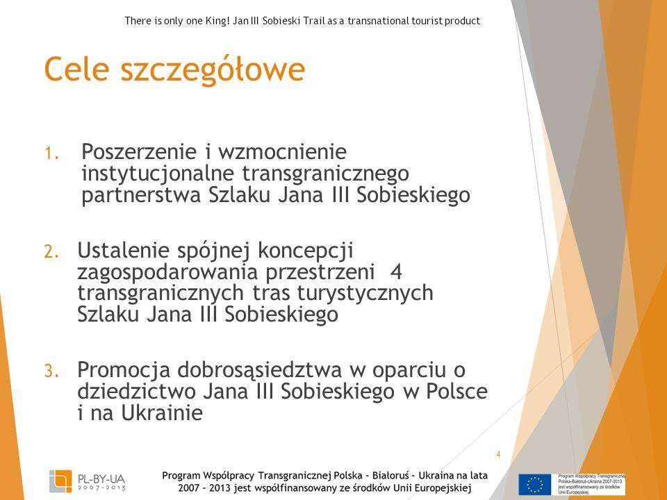 Cele szczegółowe 1. Poszerzenie i wzmocnienie instytucjonalne transgranicznego partnerstwa Szlaku Jana III Sobieskiego 2. Ustalenie spójnej koncepcji