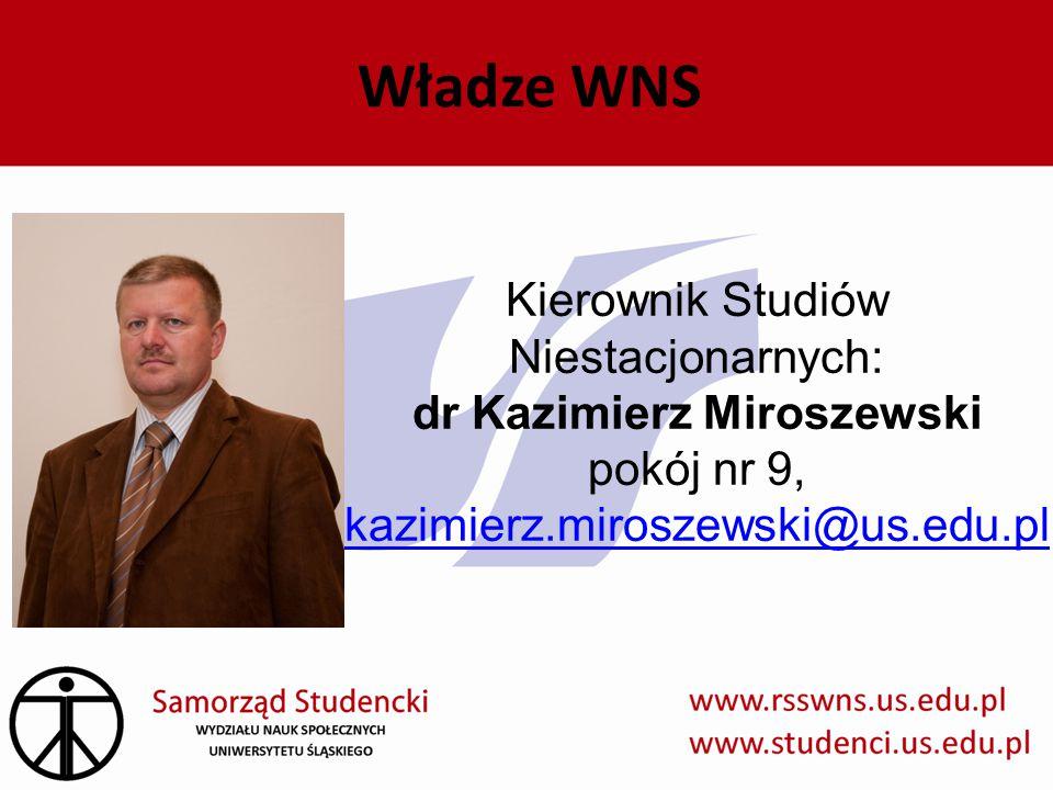 Władze WNS Kierownik Studiów Niestacjonarnych: dr Kazimierz Miroszewski pokój nr 9, kazimierz.miroszewski@us.edu.pl kazimierz.miroszewski@us.edu.pl