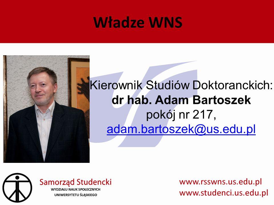 Władze WNS Kierownik Studiów Doktoranckich: dr hab.