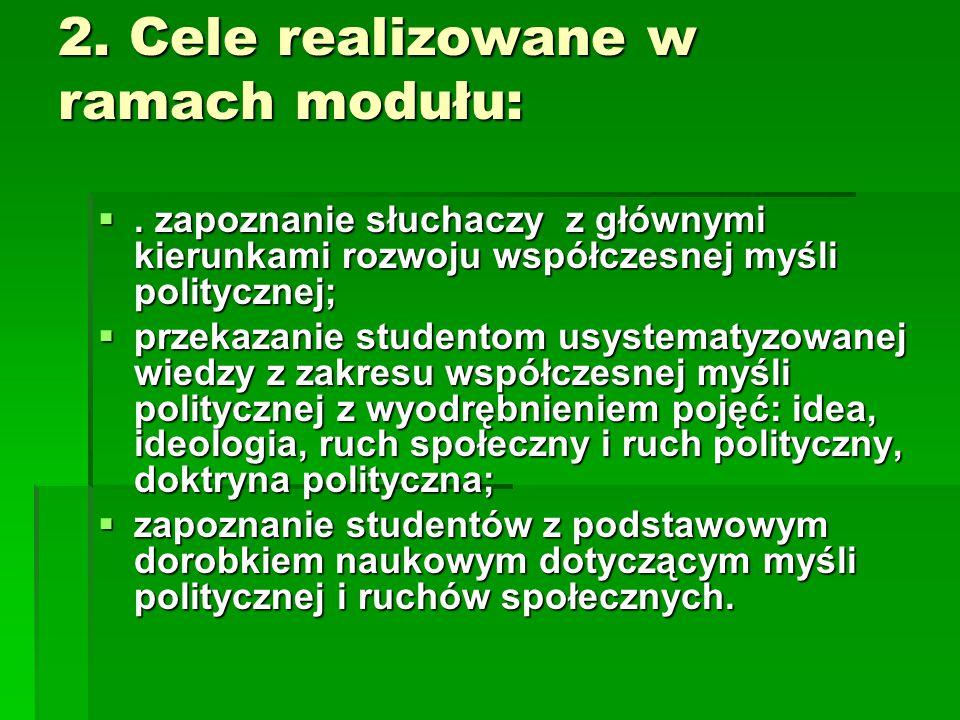 2. Cele realizowane w ramach modułu: . zapoznanie słuchaczy z głównymi kierunkami rozwoju współczesnej myśli politycznej;  przekazanie studentom usy