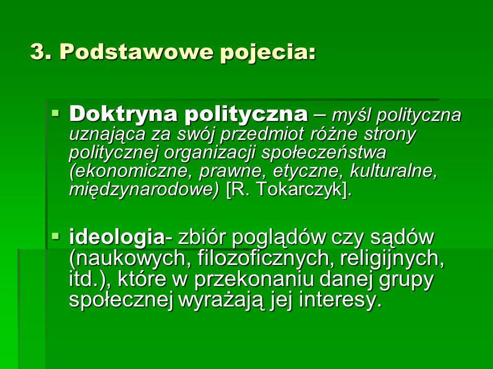 3. Podstawowe pojecia:  Doktryna polityczna – myśl polityczna uznająca za swój przedmiot różne strony politycznej organizacji społeczeństwa (ekonomic