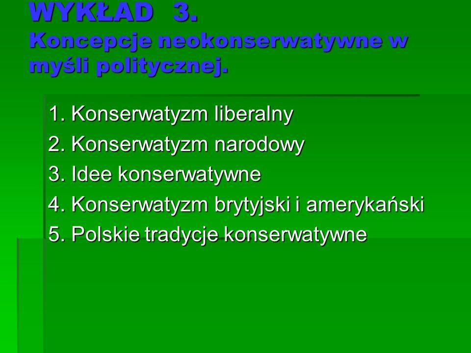 WYKŁAD 3. Koncepcje neokonserwatywne w myśli politycznej. 1. Konserwatyzm liberalny 2. Konserwatyzm narodowy 3. Idee konserwatywne 4. Konserwatyzm bry