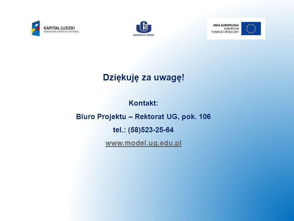 Dziękuję za uwagę! Kontakt: Biuro Projektu – Rektorat UG, pok. 106 tel.: (58)523-25-64 www.model.ug.edu.pl