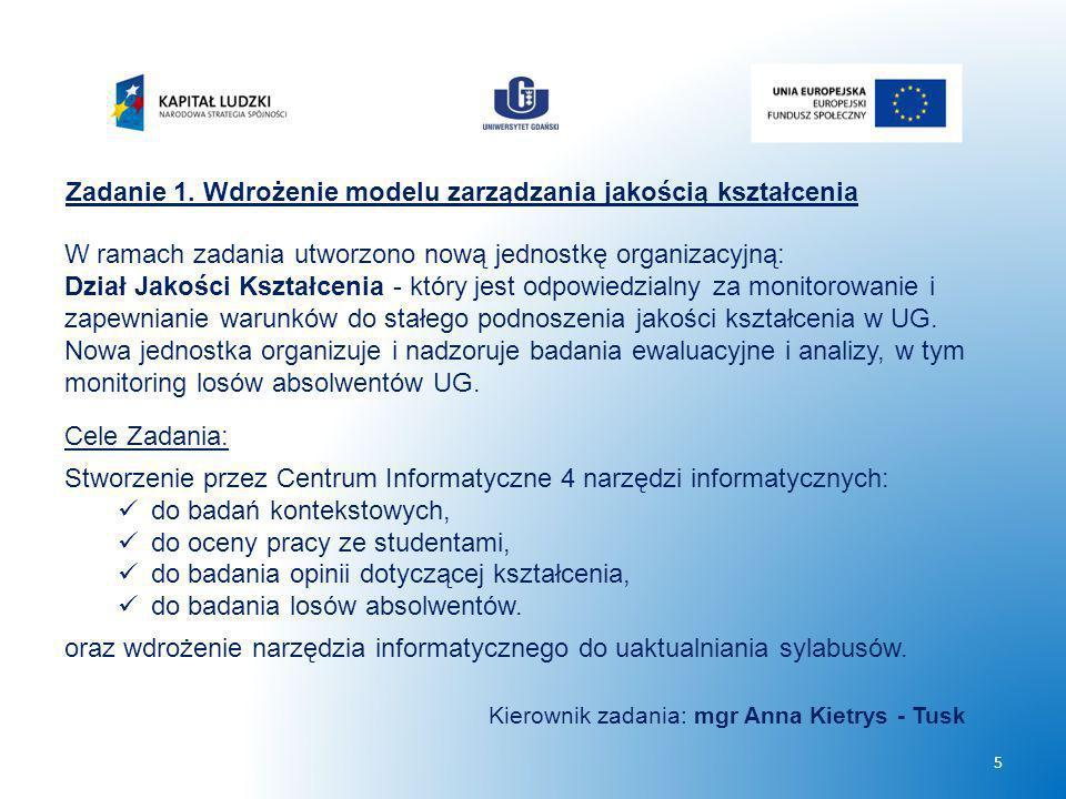 Zadanie 1. Wdrożenie modelu zarządzania jakością kształcenia W ramach zadania utworzono nową jednostkę organizacyjną: Dział Jakości Kształcenia - któr