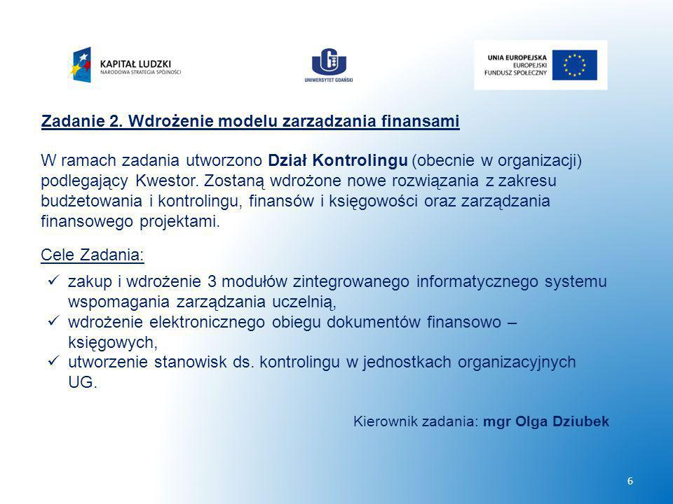 Zadanie 2. Wdrożenie modelu zarządzania finansami W ramach zadania utworzono Dział Kontrolingu (obecnie w organizacji) podlegający Kwestor. Zostaną wd