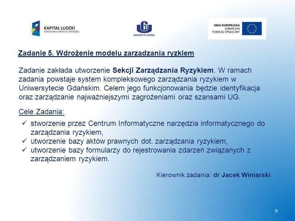Zadanie 5. Wdrożenie modelu zarządzania ryzkiem Zadanie zakłada utworzenie Sekcji Zarządzania Ryzykiem. W ramach zadania powstaje system kompleksowego