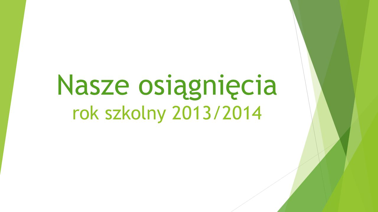 Nasze osiągnięcia rok szkolny 2013/2014