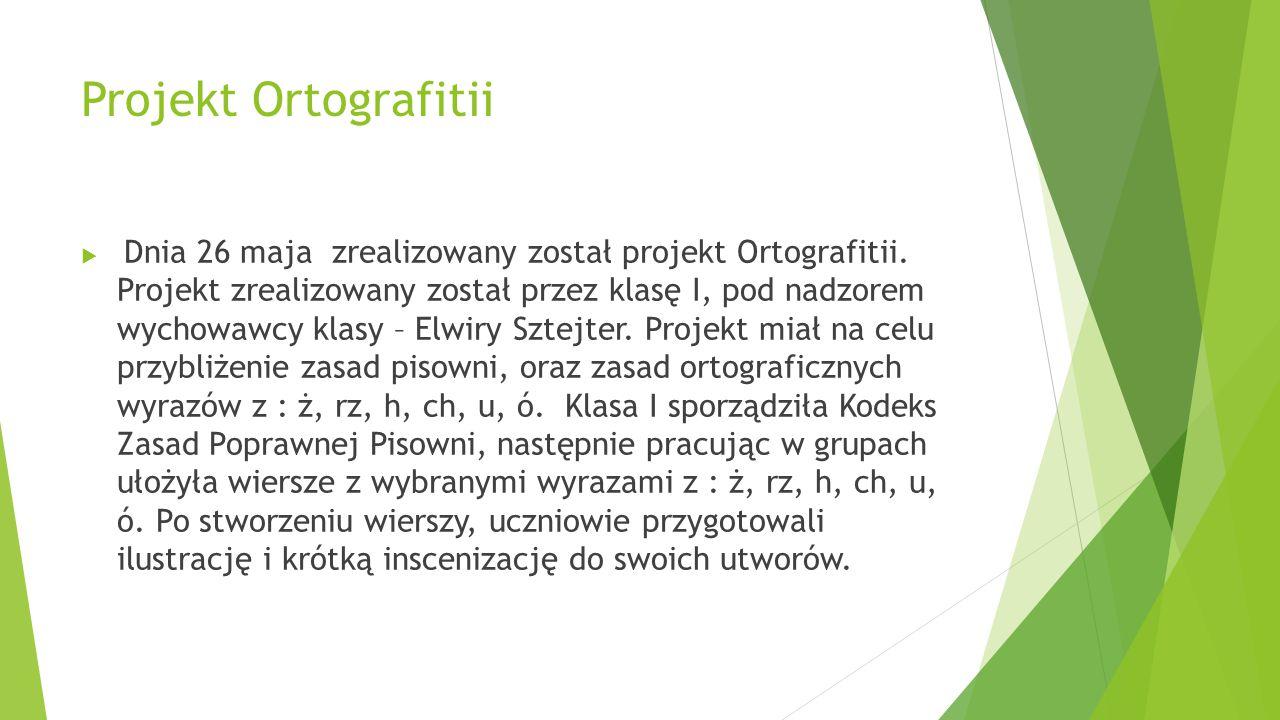 Projekt Ortografitii  Dnia 26 maja zrealizowany został projekt Ortografitii. Projekt zrealizowany został przez klasę I, pod nadzorem wychowawcy klasy
